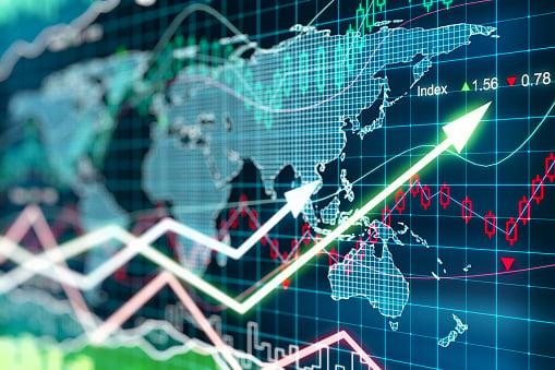 Digital global growth stock chart.