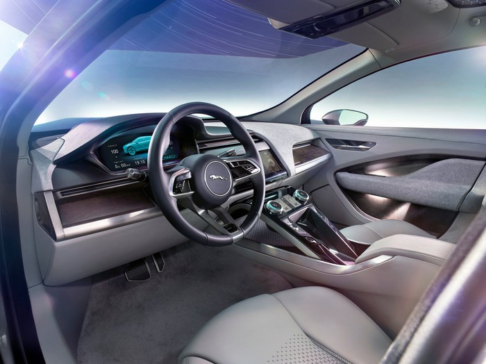 The dash and front seats of Jaguar's I-PACE Concept.