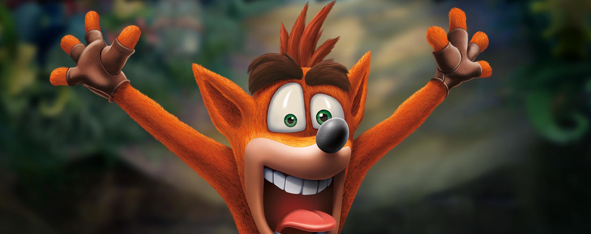 Crash Bandicoot, raising his arms in the air.