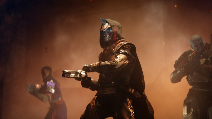 """Three characters from """"Destiny 2"""" hold guns."""