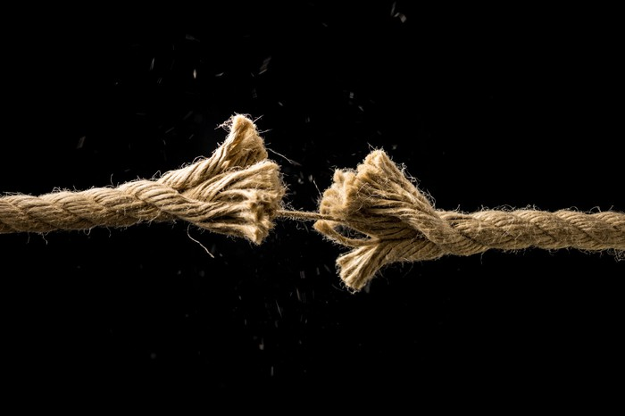 A rope unwinding.