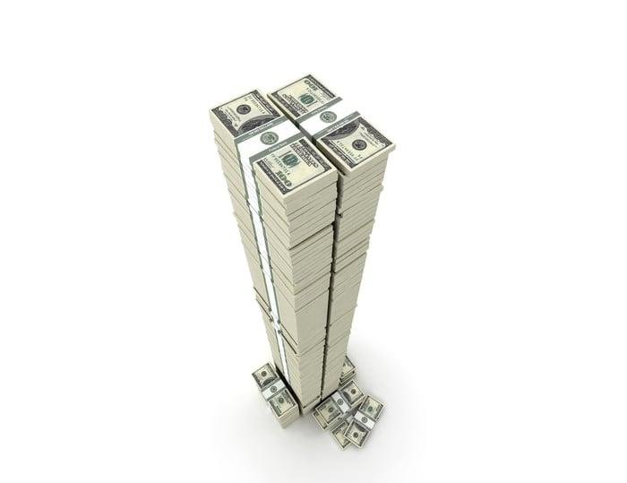 Tall stacks of money