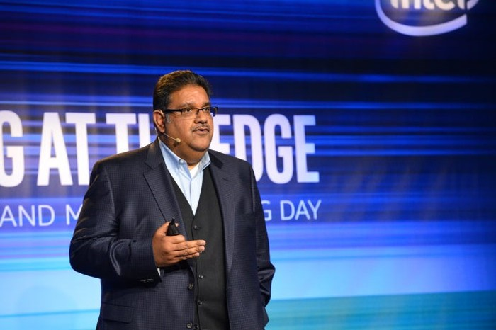 Intel executive Murthy Renduchintala at the company's Technology and Manufacturing Day.