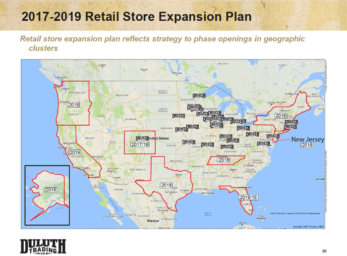 A map showing where Duluth is planning new locations in 2017, 2018 and 2019