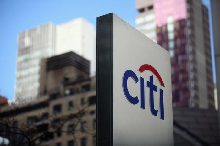 The Citigroup logo on a sign.