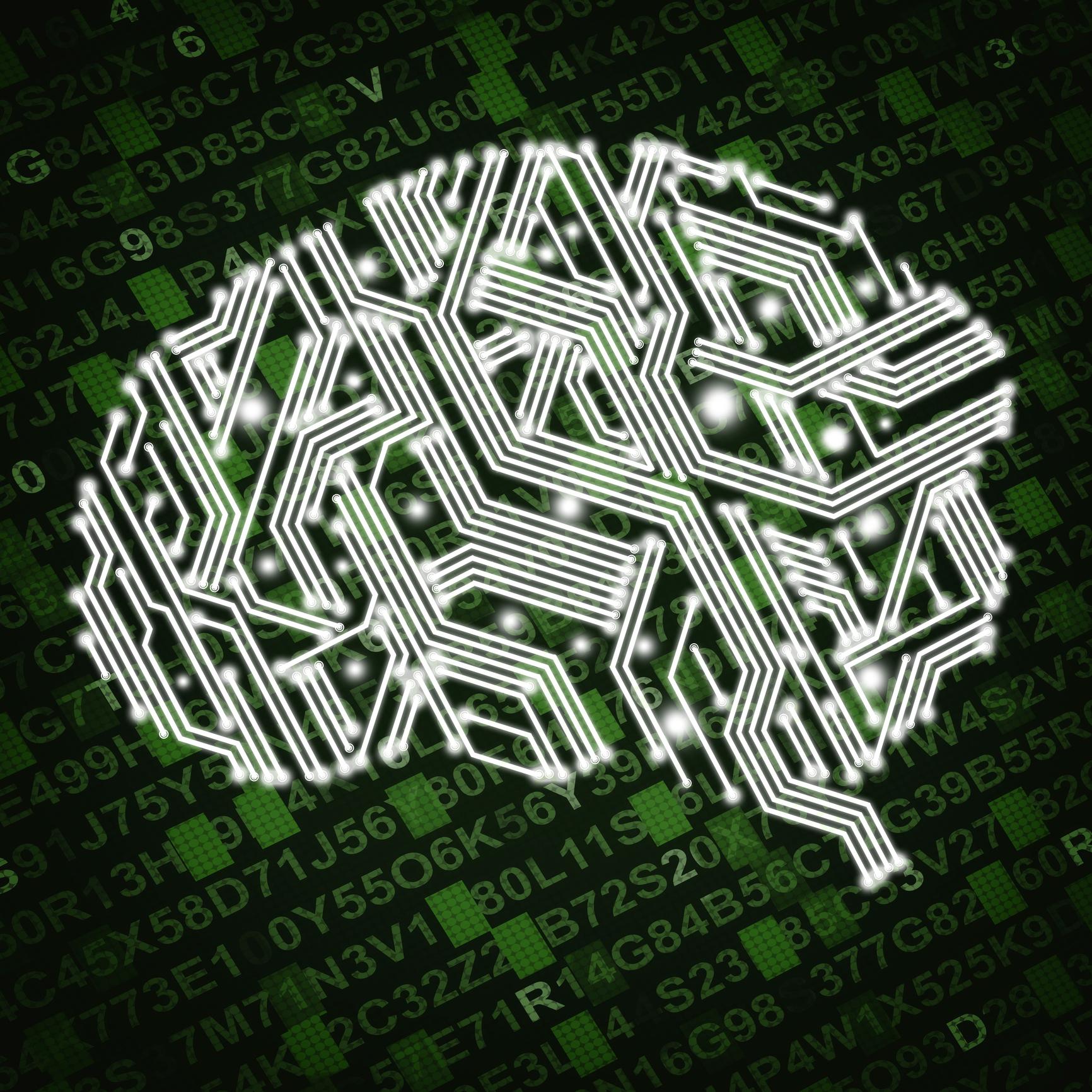Illustration of circuit board in human brain form.