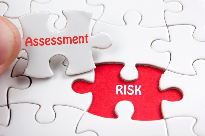 """Concept for risk assessment -- a slot on puzzle board with for """"risk"""" and a puzzle piece that fits it saying """"assessment."""""""