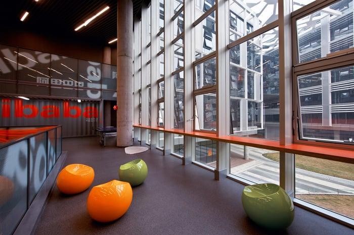 An interior shot of Alibaba's Binjiang campus in Hangzhou, China.