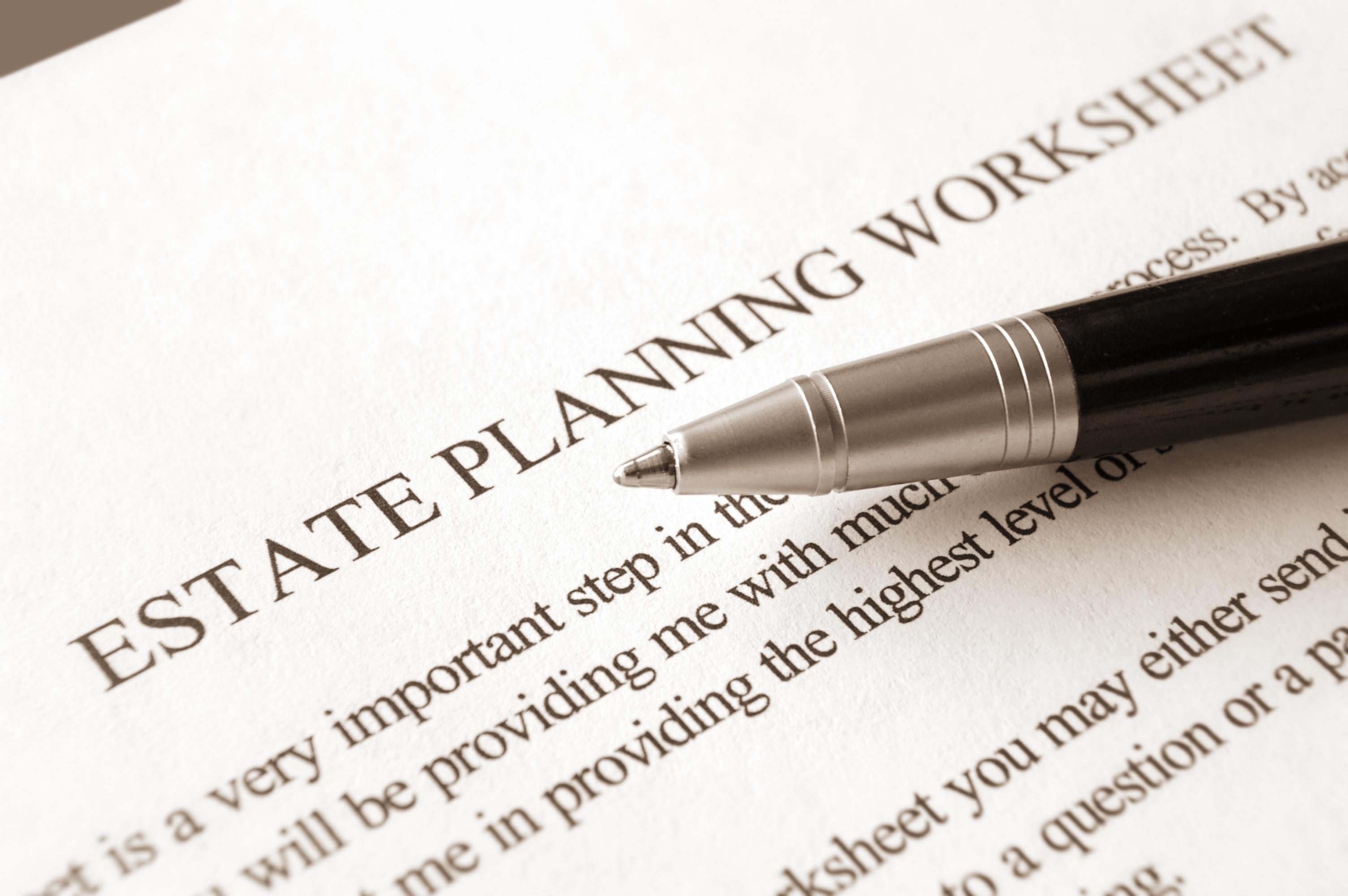 Worksheet for estate planning.