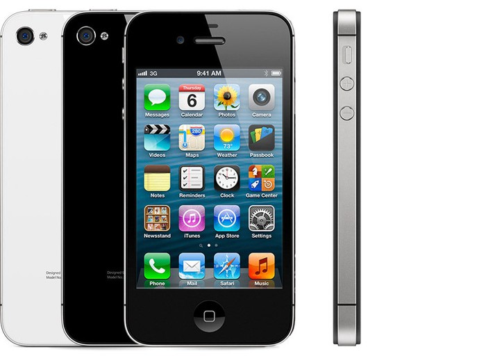 iPhone 4s front, back, and profile view