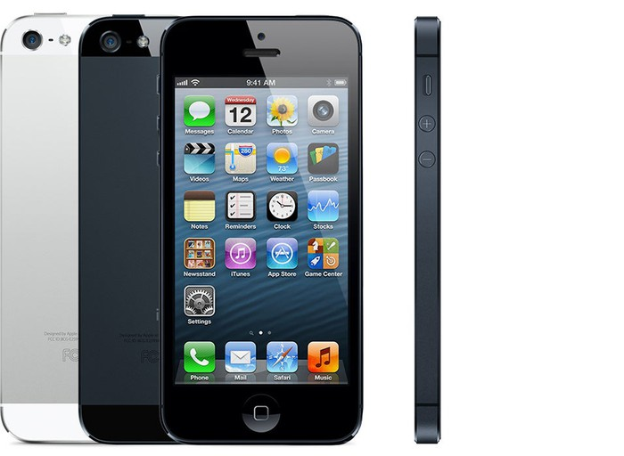 iPhone 5 front, back, and profile view.