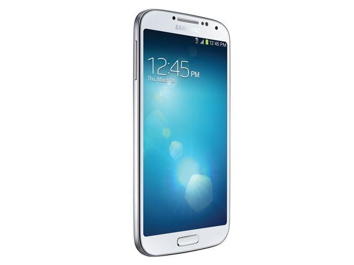 Samsung Galaxy S4 at an angle.