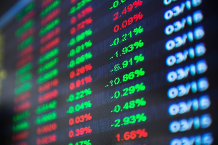 A stock market quotation board.