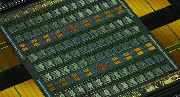 Picture of NVIDIA's Volta graphic processing unit.