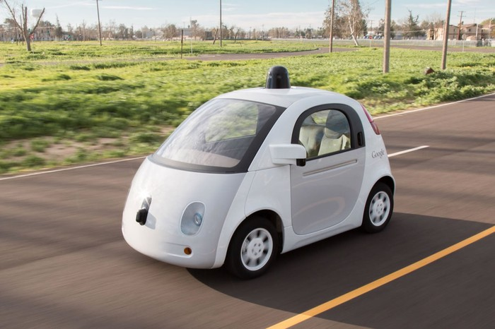 "A self-driving ""panda"" test vehicle built for Google's Self-Driving Car Project in 2014"