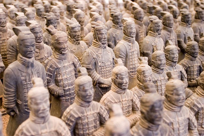 Terracotta warrior figurines lined up as if in military formation