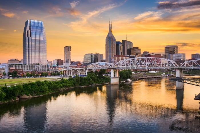 The Nashville, Tennessee skyline at sunset.