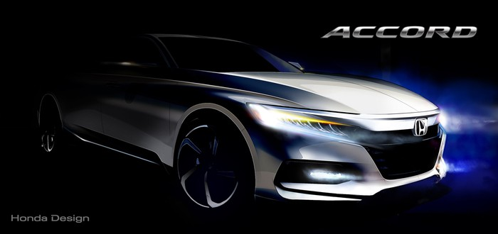 A sketch showing a stylized view of the front end of the new 2018 Honda Accord sedan