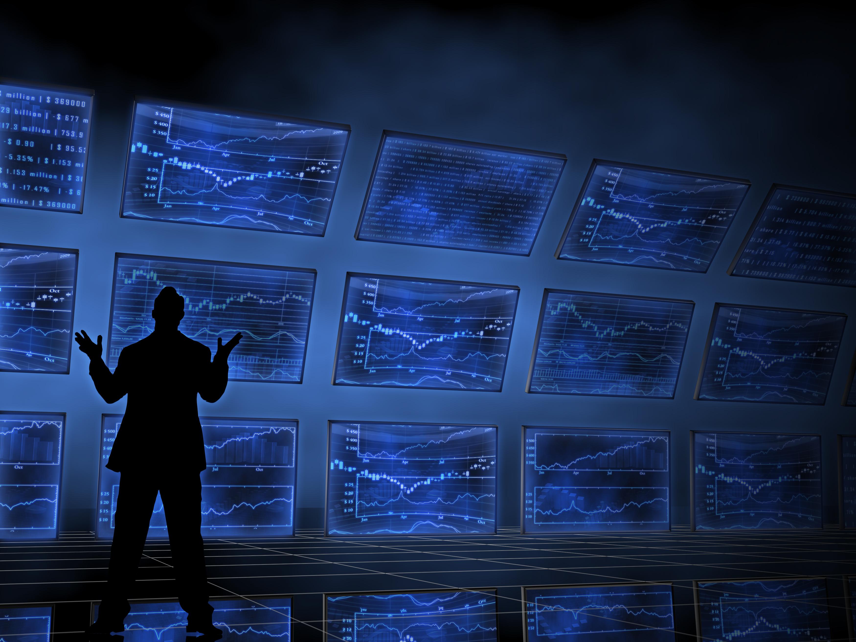 Tech stock screens.