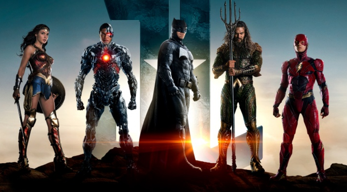 """The characters of """"Justice League"""": Wonder Woman, Cybord, Batman, Aquaman, and the Flash."""