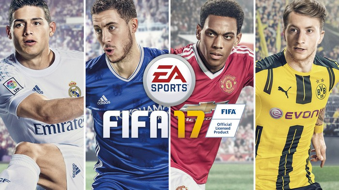 EA Sports FIFA 17 box art depicting four soccer players in uniform from the game.