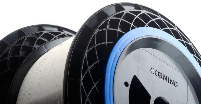 Spool of optical fiber