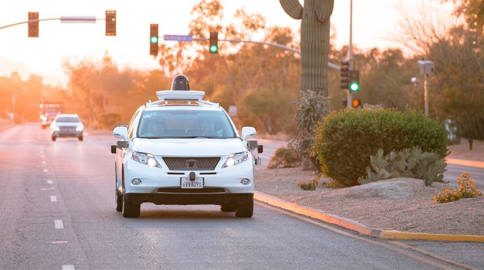 One of Waymo's driverless cars in action.