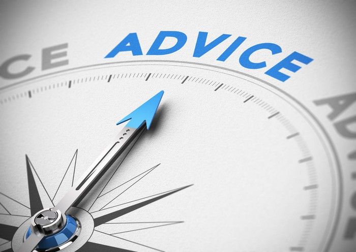 "A compass needle points to the word ""advice."""