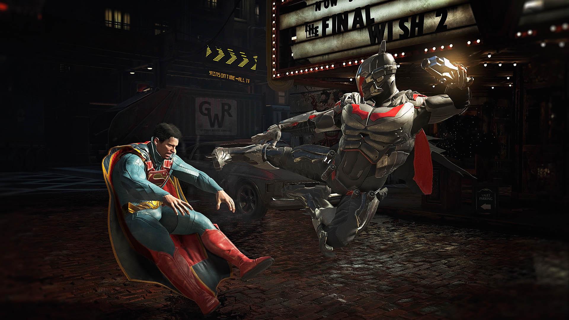 "Batman kicking Superman in Time Warner's ""Injustice 2."""