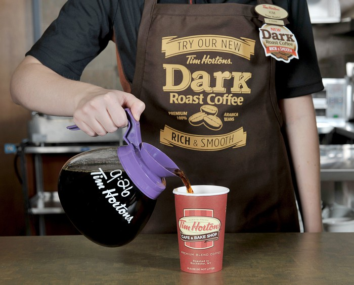 Server pours coffee into a Tim Horton cup.
