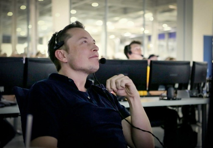 Elon Musk in SpaceX control room
