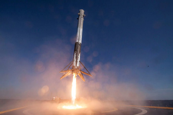 First Falcon 9 re-flight, landing on a droneship.