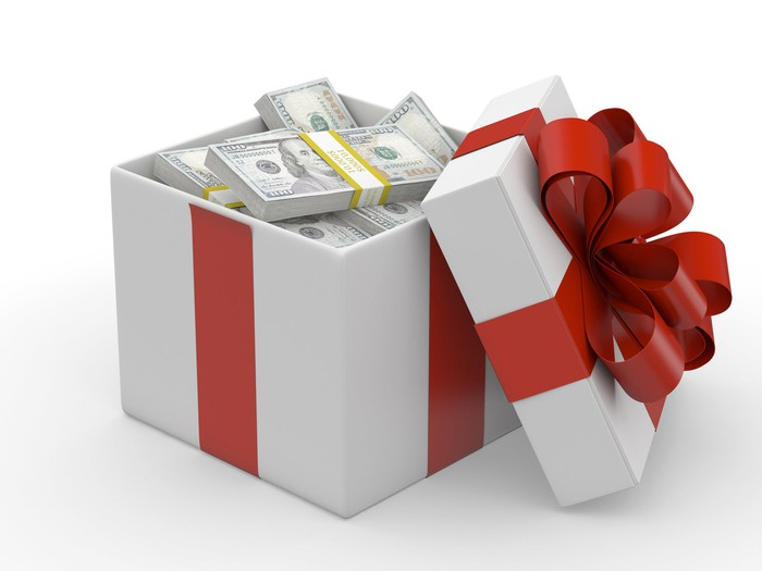 Gift box full of cash