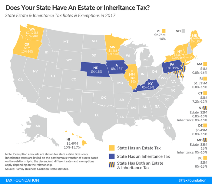 State estate and inheritance tax rates