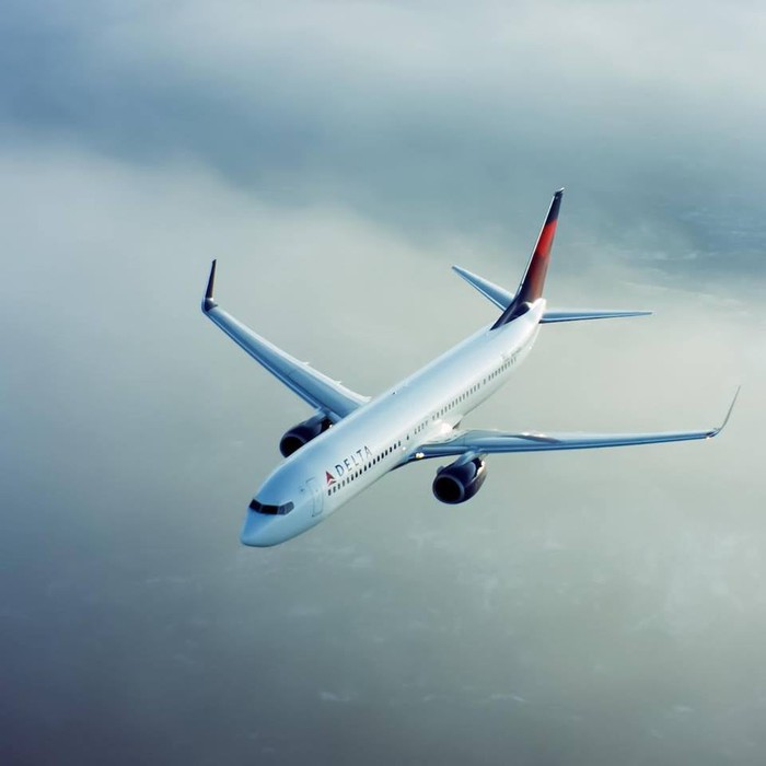 A Delta airplane in flight.