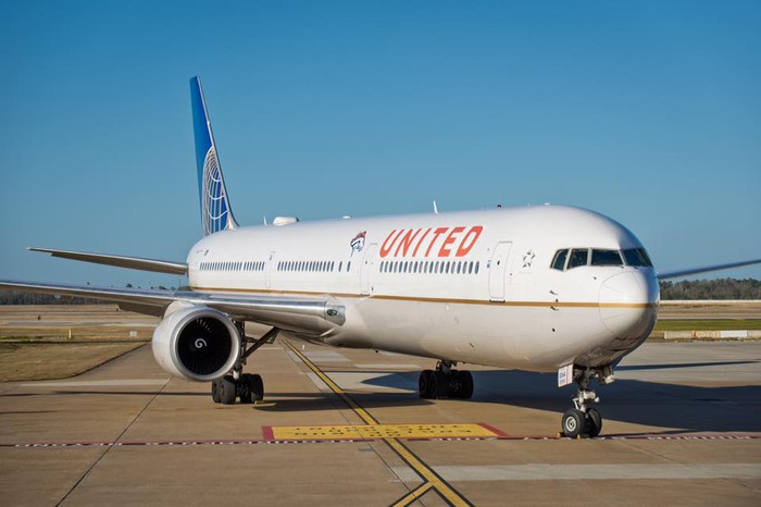A United airplane on the ground.