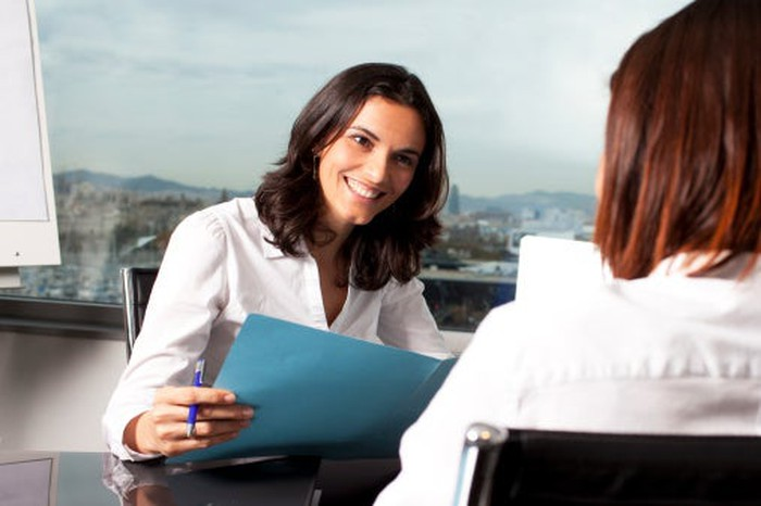 Two women in a job interview.