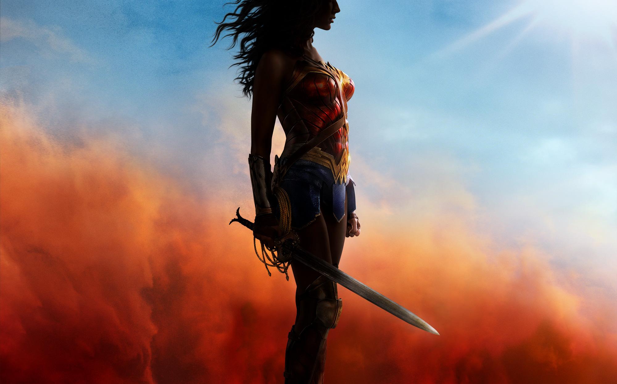 Wonder Woman holding a sword.