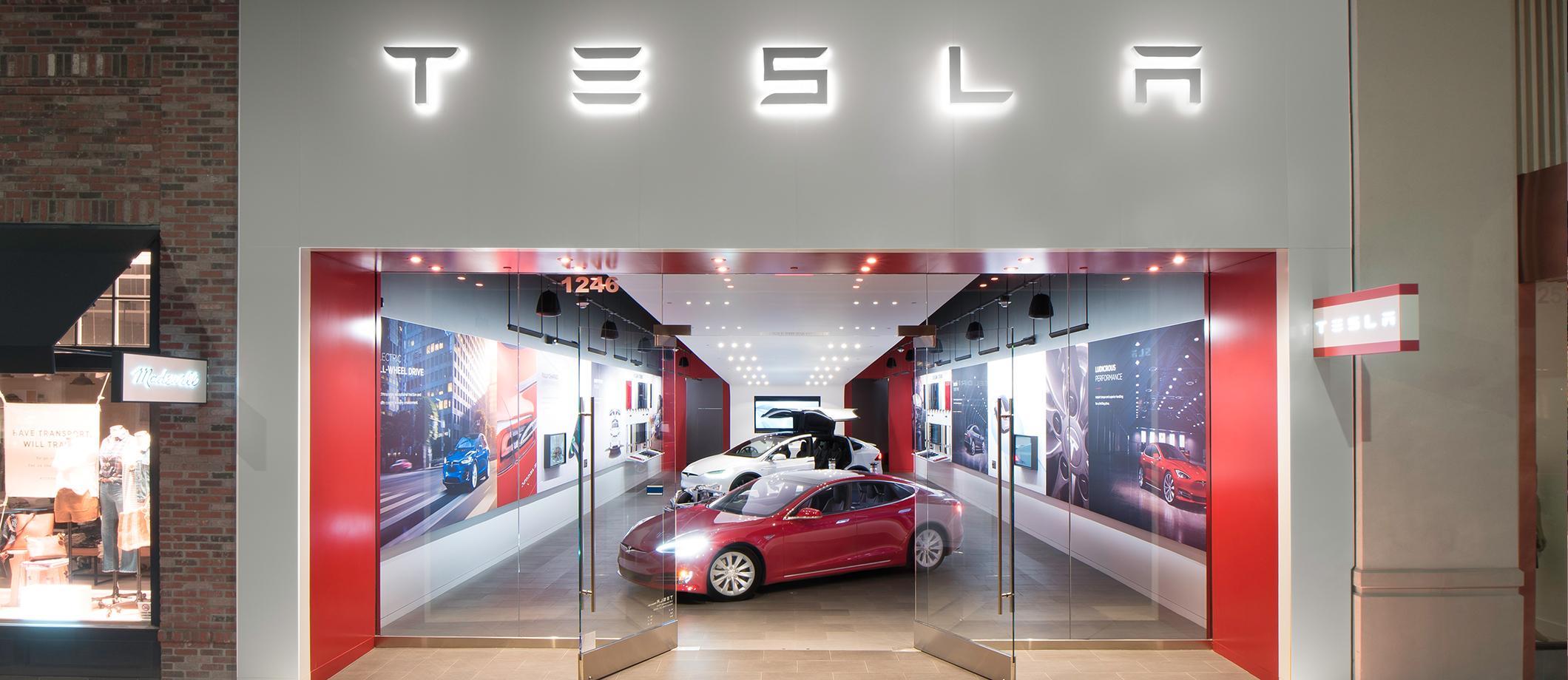 A Tesla retail store