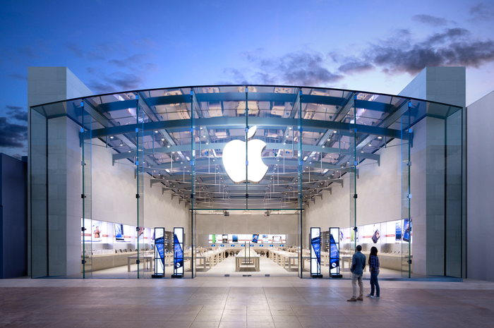 The front of an Apple store in Santa Monica, California.
