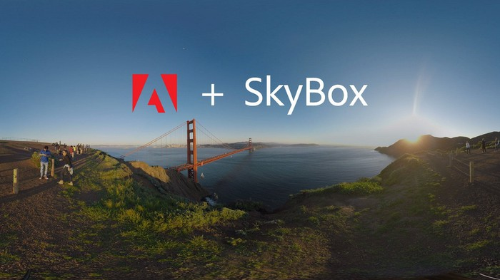 """The Adobe logo and the caption """"plus SkyBox,"""" overlaid over an image of a bridge and skyline."""