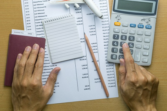 Adding up taxes on a calculator