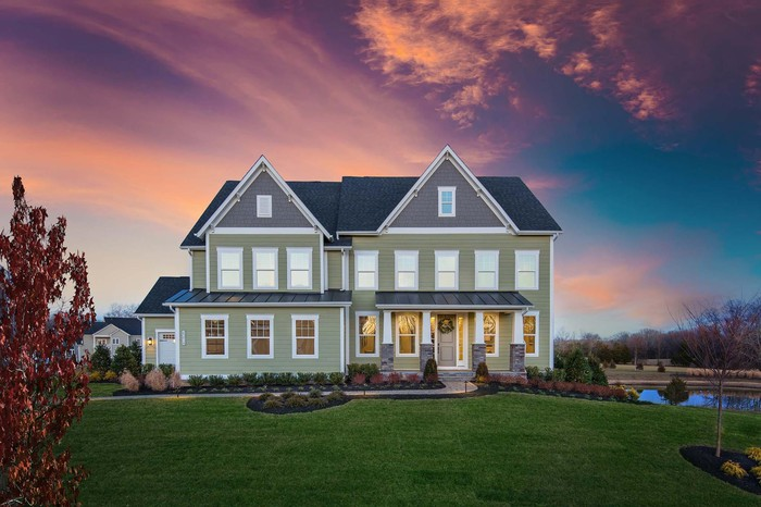 The front view of a home built by NVR.