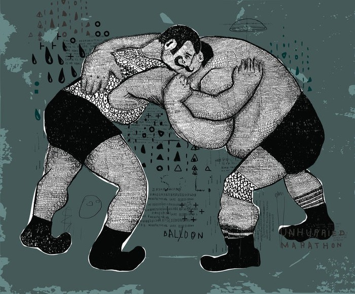 Retro-style illustration of two mustachioed wrestlers grappling.