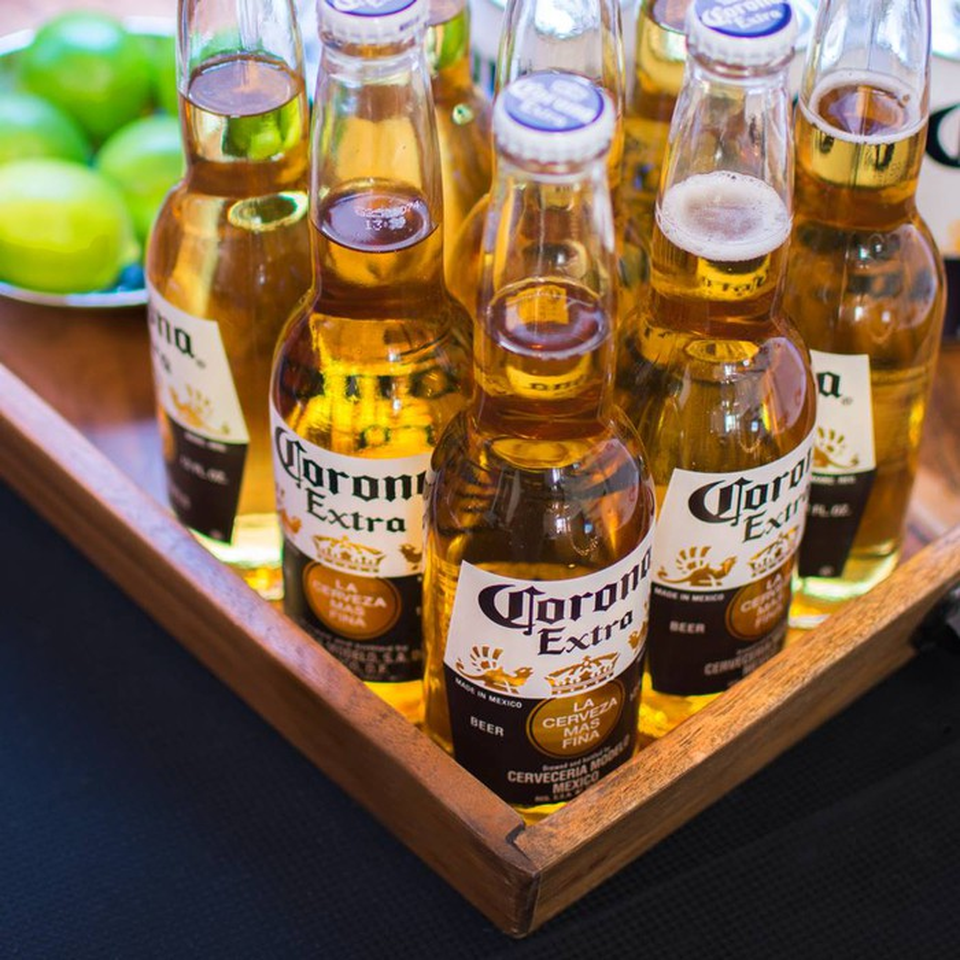 Corona beer bottles.