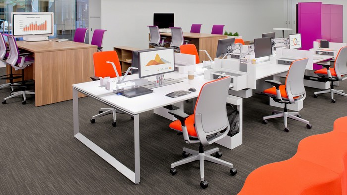 An office-type room set up with Steelcase office furniture.