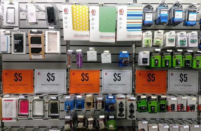 Phone cases and other supplies at Radio Shack