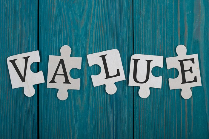 """Puzzle pieces spelling the word """"value."""""""