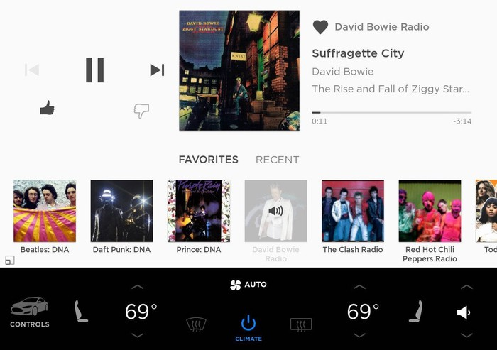 Music interface in a Tesla