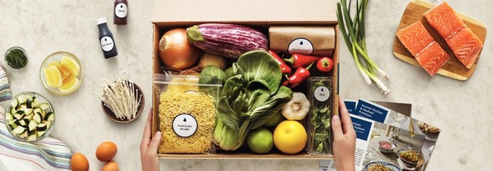 A sample of a Blue Apron meal kit